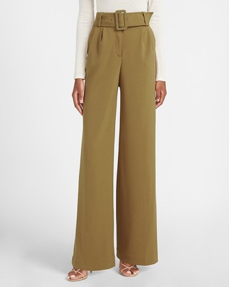 Express High Waisted Belted Wide Leg Pant