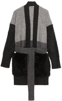 Bottega Veneta Shearling-paneled Mohair-blend Cardigan - Gray