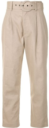 Anine Bing Low-Waist Belted Trousers