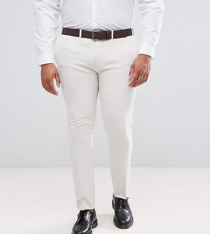 Asos Plus Super Skinny Smart Pants In Cream