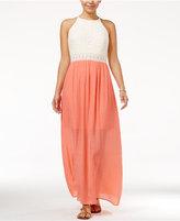 Amy Byer Juniors' Crochet Maxi Dress