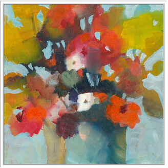 Jonathan Bass Studio Pot Of Flowers, Decorative Framed Hand Embellished Canvas