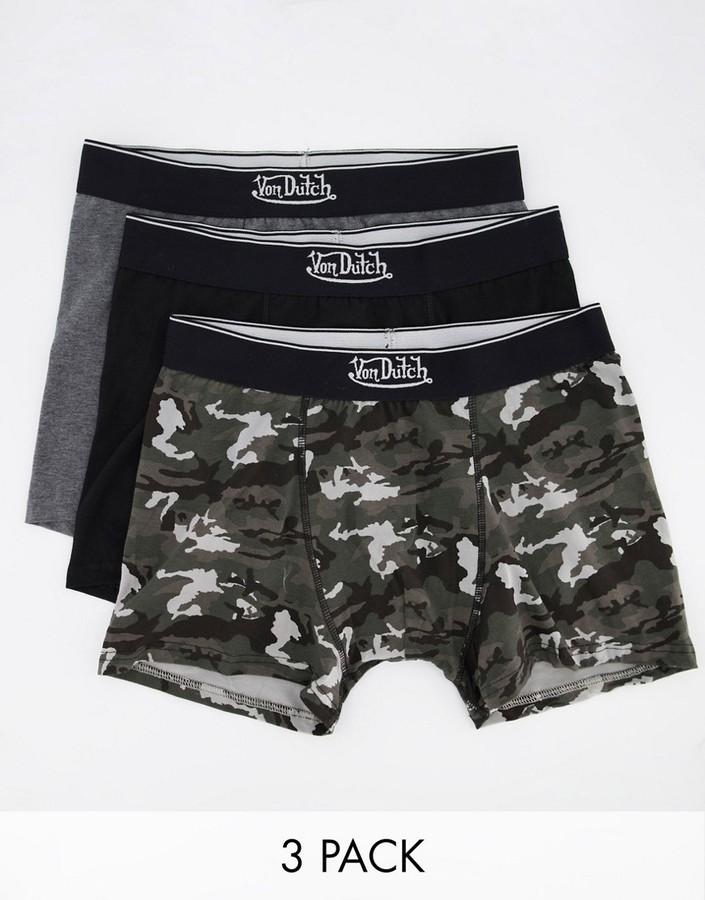 3 Pairs Pack Mens Von Dutch Black Boxers Boxer Shorts Pants Underwear Trunks