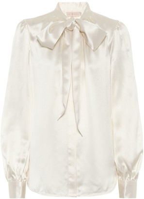 Tory Burch Tie-neck silk satin blouse