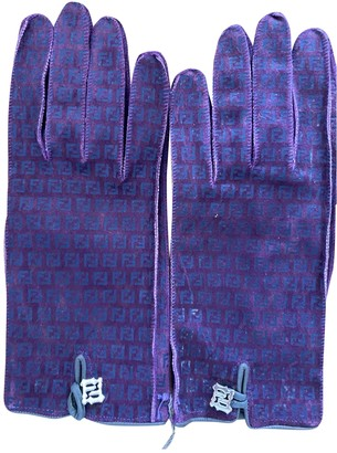 Fendi Purple Suede Gloves