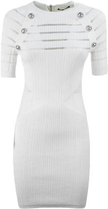 Balmain Sheer Panel Knitted Bodycon Dress