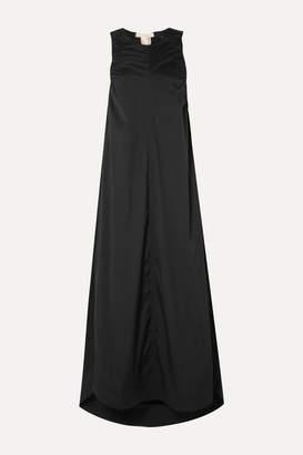 Lee Mathews - Elsie Ruched Stretch Cotton-blend Poplin Midi Dress - Black