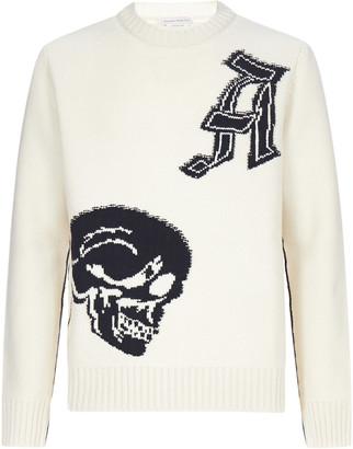 Alexander McQueen Skull-intarsia Lambswool Sweater