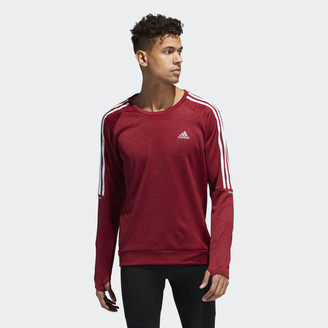 adidas Own the Run 3-Stripes Crew Sweatshirt