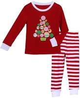 Pettigirl Girls 2 Piece Clothing Set Tree Striped Pajamas 7 Years
