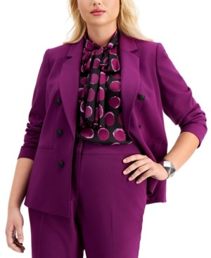 Bar III Trendy Plus Size Faux Double-Breasted Blazer, Created for Macy's