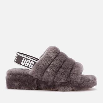UGG Women's Fluff Yeah Slide Sheepskin Slippers - Charcoal