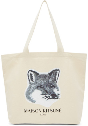 MAISON KITSUNÉ SSENSE Exclusive Off-White and Grey Fox Head Tote