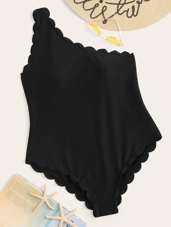 Shein Plus Scallop Trim One Shoulder One Piece Swimwear