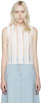 MSGM White Open-Knit Raffia Top