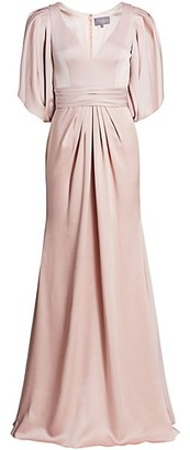 Theia V-Neck Satin Gown