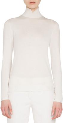 Akris Slit Mock-Neck Long-Sleeve Cashmere-Silk Knit Pullover Top