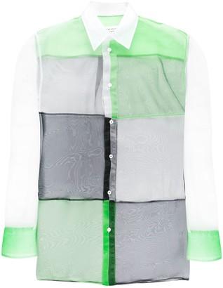 Maison Margiela colour-block sheer shirt