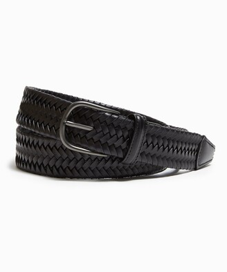 Andersons Braided Leather Stretch Belt in Black