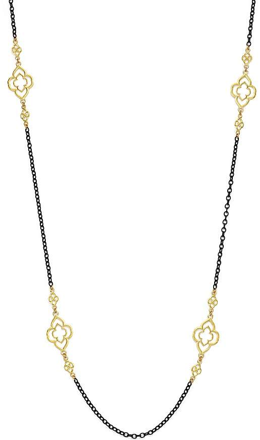 Armenta 18K Yellow Gold and Blackened Sterling Silver Old World Heraldry Scroll Station Necklace, 37""