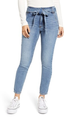Prosperity Denim Belted High Waist Ankle Skinny Jeans