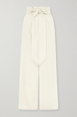 BONDI BORN Net Sustain Fancy Belted Linen-twill Wide-leg Pants - Cream