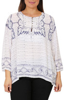Wite+ BLUE BOARDER PRINT TOP