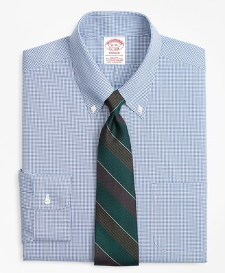 Brooks Brothers Stretch Madison Classic-Fit Dress Shirt, Non-Iron Mini-Windowpane