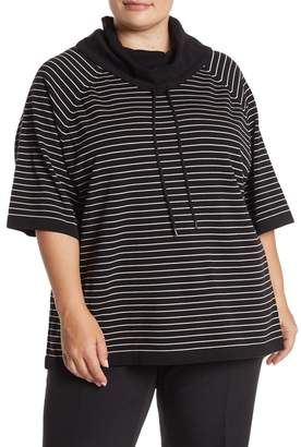 Anne Klein 3/4 Dolman Sleeve Striped Pullover (Plus Size)