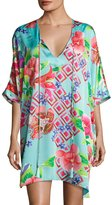 Natori Star Blossom Short Caftan Dress, Blue
