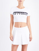 Ivy Park Ladies White Wrap Breathable Logo Back Stretch-Jersey Cropped Top