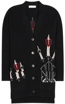 Valentino Embroidered wool and cashmere cardigan