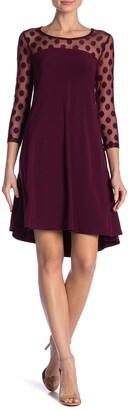Nina Leonard Polka Dot Illusion 3/4 Sleeve Swing Dress