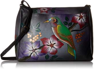 Anuschka Anna By Anna by Genuine Leather East West Crossbody Bag | Hand-Painted Original Artwork | Bird On Branch Grey