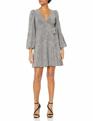 Donna Morgan Women's Sequin Knit Full Wrap Dress