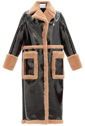 Stand Studio Aubrey Faux-leather And Shearling Coat - Black Beige