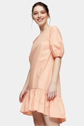 Topshop Womens Peach Cotton Poplin Chuck On Mini Dress - Peach
