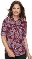 Croft & Barrow Women's Roll-Tab Woven Shirt