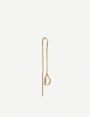 Rachel Jackson 'D' Initial 22ct yellow gold-plated sterling silver threader earring