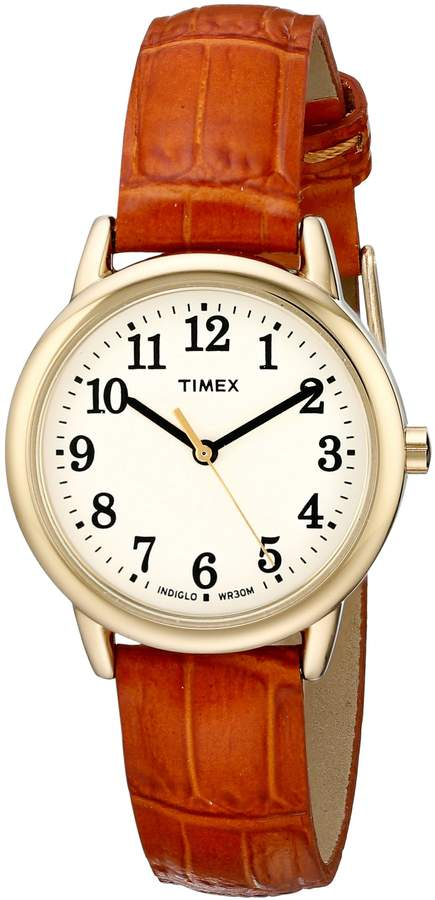 Timex Women's TW2P688009J Easy Reader Gold-Tone Watch with Brown Leather Band