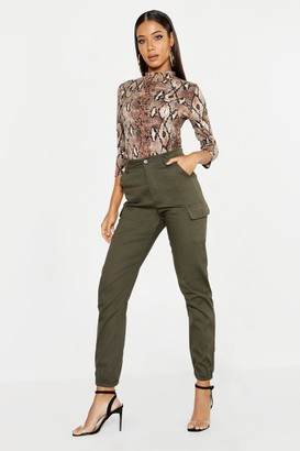 boohoo High Waist Woven Cargo Pocket Trouser