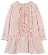 Chloé Pale Pink Wool Dress with Silk Ruffles