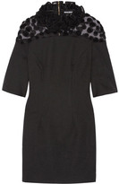 House of Holland Ruffled Crepe And Flocked Tulle Mini Dress