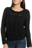 Wet Seal WetSeal Cable Knit Cropped Sweater Doeskin