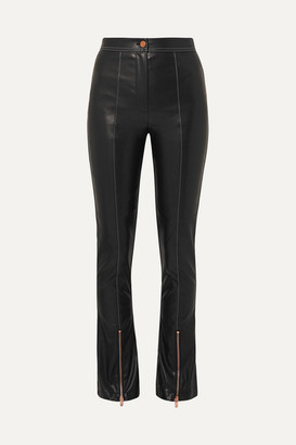 ANDERSSON BELL Faux Leather Flared Pants - Black