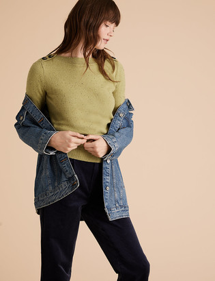 Marks and Spencer Cotton Boat Neck Long Sleeve Sweatshirt