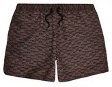 River Island MensBrown printed swim trunks