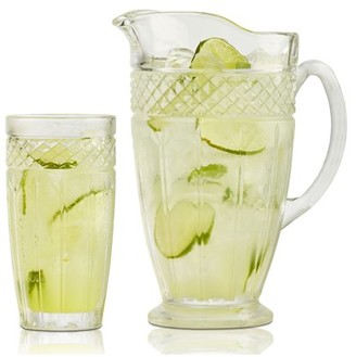 Brilliant Bavaria Clear Glass 7 Piece Drink Set, Six Drinking Tumblers with a Glass Pitcher