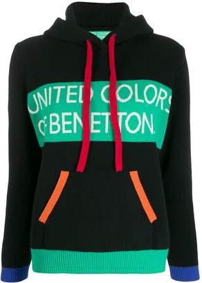 Benetton colour block hooded jumper