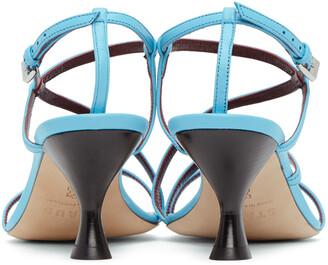 STAUD Blue Nappa Gita Heeled Sandals